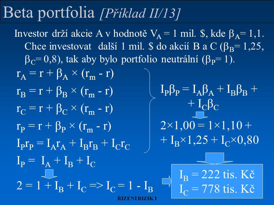 Beta portfolia [Příklad II/13]